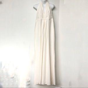 JILL Jill Stewart Jumpsuit Sleeveless Backless Gown Ankle Length Lined Ivory 14
